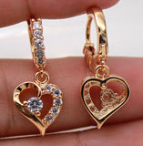 18K Gold Filled - Swirl Hollow Love Heart Topaz Gemstone Party Women Earrings Lover's Gift