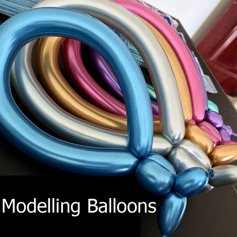 10pcs Metal Latex Balloons 1.8g Long Shape Thick Chrome Metallic Colors Inflatable Air Ballons Magic ballon Wedding Party decor