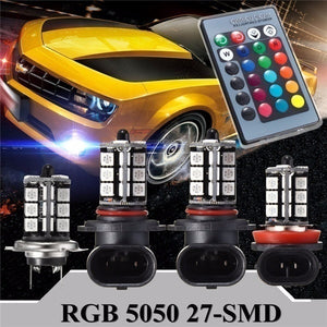1Pair Car Fog Light Driving Light Bulb 24 Keys Remote Control Color Changing 5050 RGBW LED 27SMD 9005/9006/H4/H8/H11/H7
