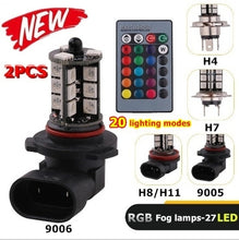 Load image into Gallery viewer, 1Pair Car Fog Light Driving Light Bulb 24 Keys Remote Control Color Changing 5050 RGBW LED 27SMD 9005/9006/H4/H8/H11/H7