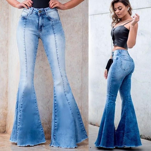 2019 New Women Fashion Denim Bell Bottoms Slim Fit Flared Jeans Pants