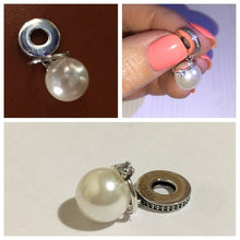 Load image into Gallery viewer, Elegant Imitation Pearl & Clear CZ Rhinestone Pendant Charm Fit Bracelet & Necklace Jewelry