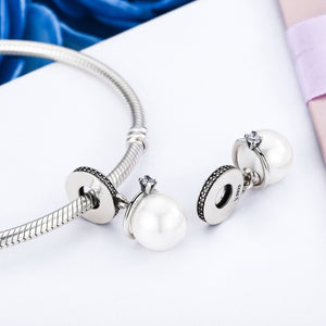 Elegant Imitation Pearl & Clear CZ Rhinestone Pendant Charm Fit Bracelet & Necklace Jewelry