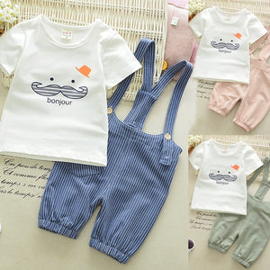 2pcs Summer Kids Baby Cartoon Cute Short Sleeve Cotton T Shirt+Romper Pants Children Boys Outfits 0-4Years