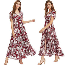 Load image into Gallery viewer, Womens Fashion Bohemian V Neck Print Big Swing Long Dress Plus Size S-5XL