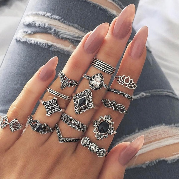 15 Pcs/set Bohemian Retro Crystal Flower Leaves Hollow Lotus Gem Silver Ring Set Women Wedding Anniversary Gift Rings for Women Jewelry Accessories