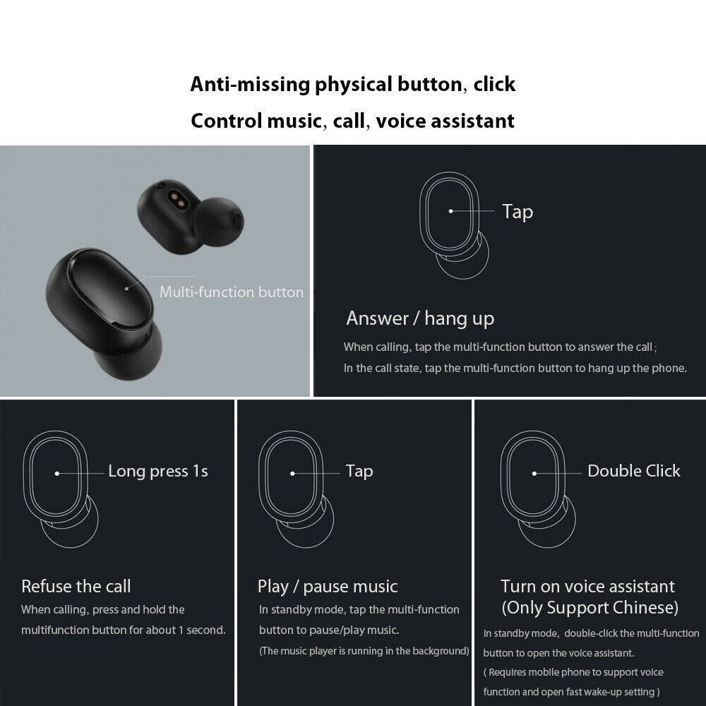 A6S TWS Wireless Headphones Bluetooth 5.0 Earphones in-Ear Headset Mini Earbuds