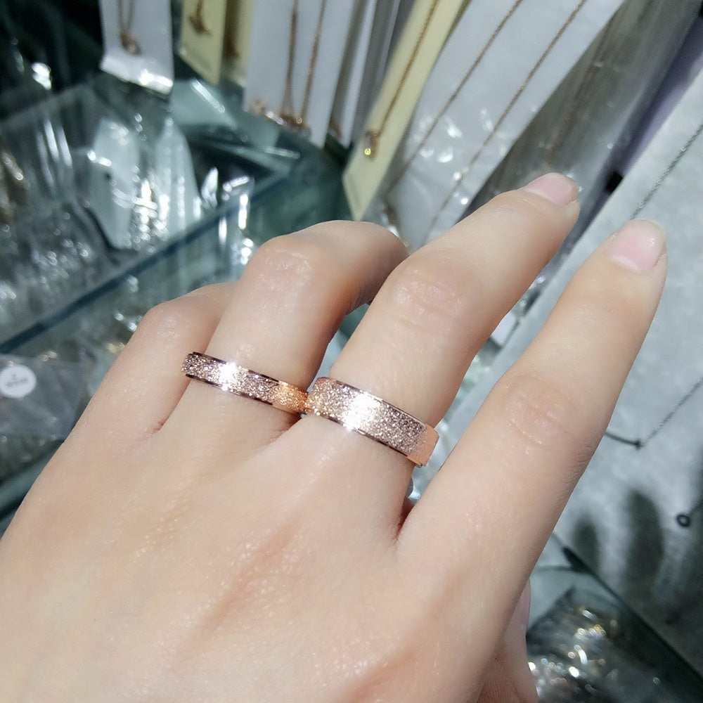 Rose Gold Color Frosted Finger Ring for Woman Man wedding Jewelry 316L Stainless Steel Top Quality Never Fade Rings