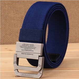 New Men Outdoor Sports Double Ring Tactical Belt Nylon Canvas Belt Fashion Men Adjustable Military Belt
