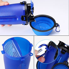 Load image into Gallery viewer, Pet Dog Feeder Drinking Folding Bowl Anti-spill Travel Cups Feeding Water Food Bottle Pets Dog Cat Feeder 2 in 1 Outdoor Bottle