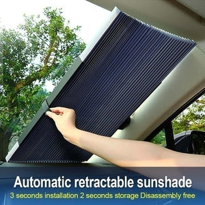 Auto Automatic Retractable Windshield Sun Visor Adjustable Car Sunshade Sunshade Aluminum Foil Curtain Anti-UV Sun Block, 46/65 / 70cm