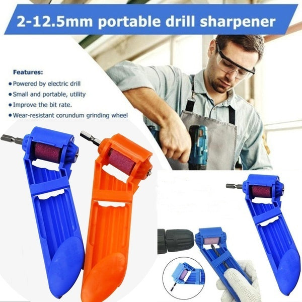 Portable Powered Tool Portable Drill Bit Sharpener for Drill Polishing Wheel Drill Bit Sharpener Fit for 2-12.5mm (Color:Blue/Orange)