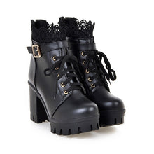 Load image into Gallery viewer, Autumn and Winter New Fashion Women's Thick High Heel Ankle Boots Ladies Leather Lace Up Martin Boots Sweet Lace Student Shoes Bottes Botines Plus Size 34-43