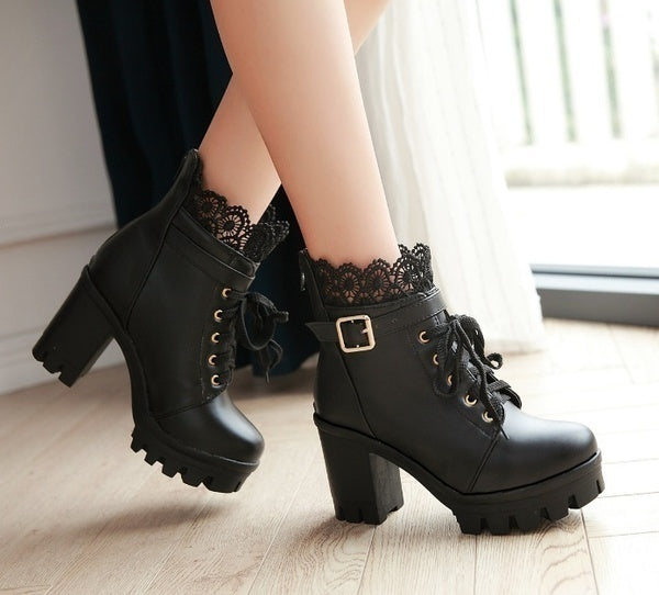 Autumn and Winter New Fashion Women's Thick High Heel Ankle Boots Ladies Leather Lace Up Martin Boots Sweet Lace Student Shoes Bottes Botines Plus Size 34-43