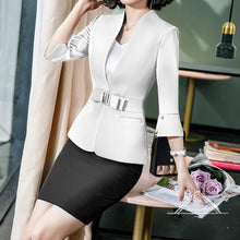 Load image into Gallery viewer, Fashion Women Business Basic Blazer Jacket Half Sleeve Slim Formal Office Work Wear Two-Piece Suits Skirt Formal Dress