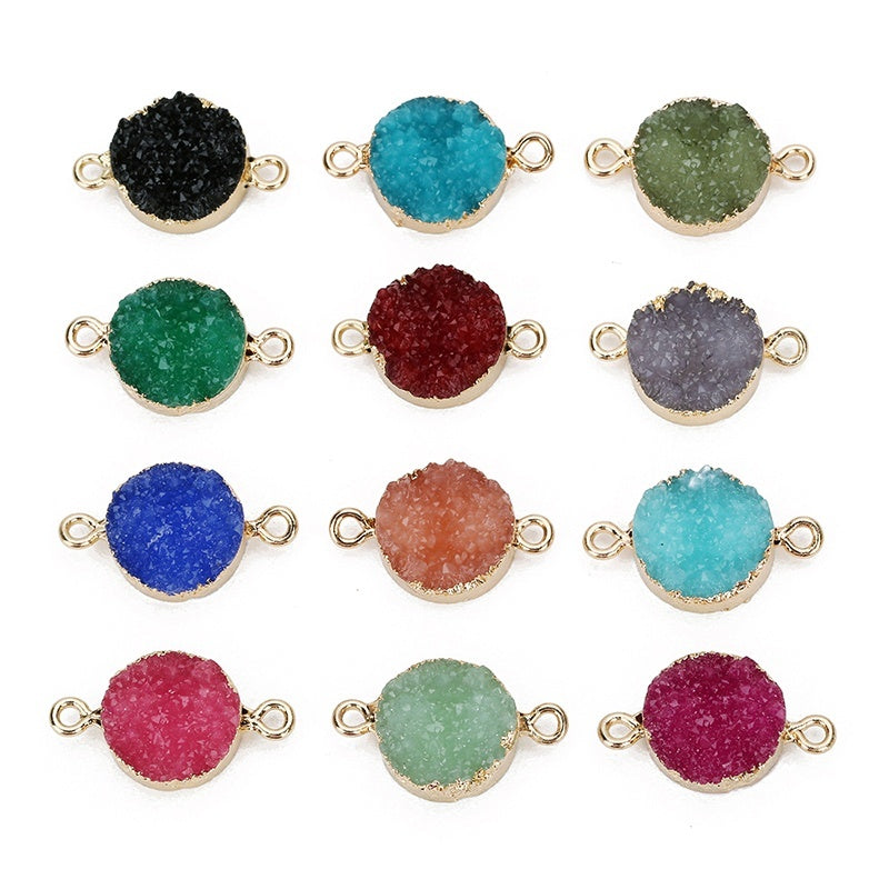 Exweup  5Pcs Round Resin Stone Charms Diameter 13.5mm Colorful Druzy Quartz Connector Pendants Charms For Diy Jewelry Making