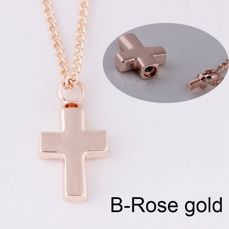 Titanium Steel Funeral Cremation Cross Heart Pendant Keepsake Zircon Urn Necklace For Ashes Memorial Jewelry Mementos