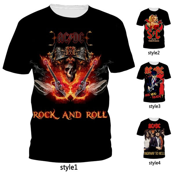Fashion AC/DC Band Vintage Rock Men T Shirt 3D Print Black Classic T Shirt Unisex Tops