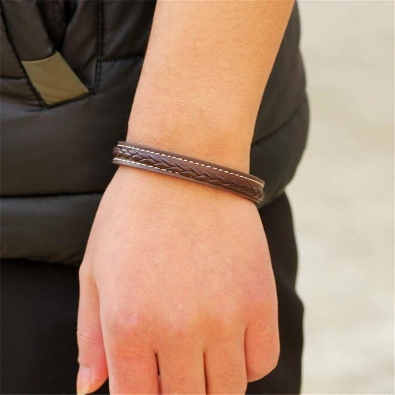 Trendy Black Brown Braided Genuine Leather Bracelet  Stainless Steel Cuff Bracelets with Magnetic Buckle Clasp