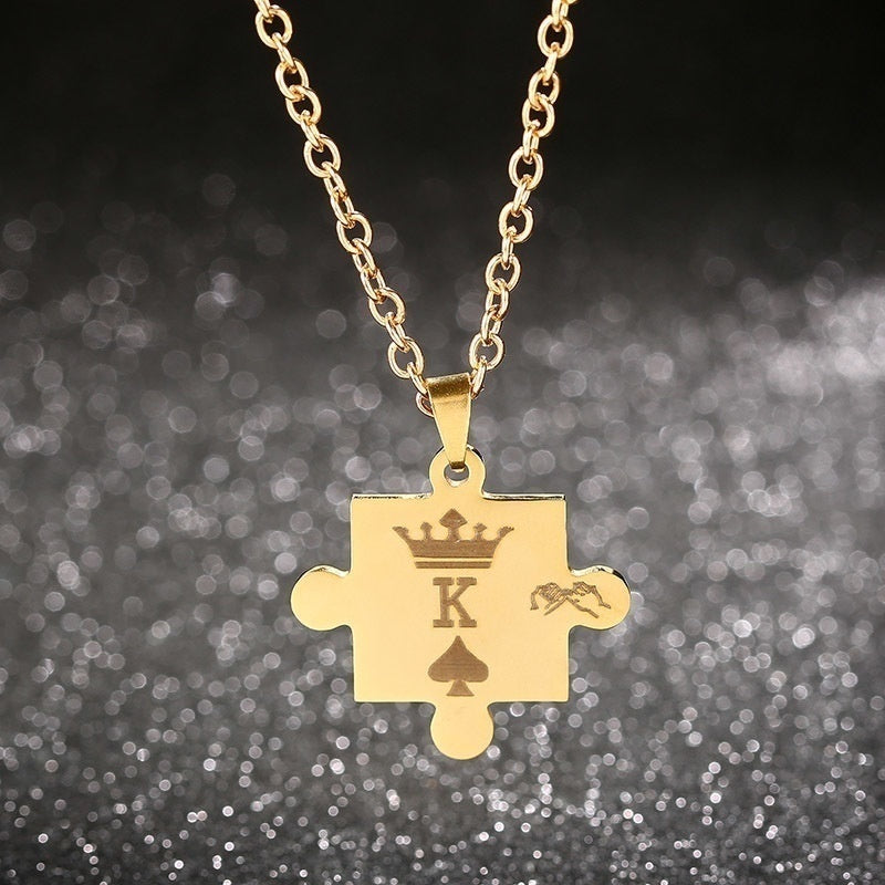 1Pcs Creative Stainless Steel King Queen Stitching Couple Pendant Necklace Gift for Women Men Lover Jewelry Gift Couple Lovers Necklaces Her King His Queen (Queen/King)