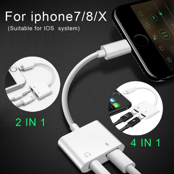 for IPhone 7/8/X Fashion Mobile Phone Accessories Double Lightning Jack Audio Splitter Adapter  Suppore IOS 11 Charging Music or Call for Headphone Audio Adapter Converter