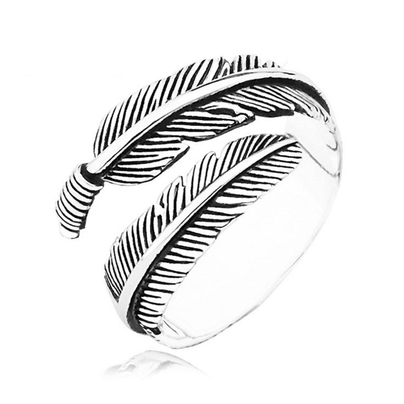 Unique Adjustable Resizable Feathers Women rings Men Graceful Allergy Free Couples Silvery Retro ring  Gifts For Woman
