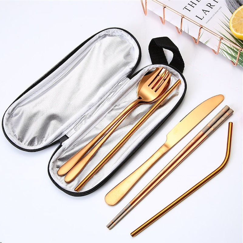 7pcs/set Colorful Portable Dinnerware Stainless Steel Cutlery Set Rainbow Dinner Set Travel Dinner Knife Tableware Sets Pouch