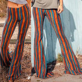 2019 New Women Fashion Rainbow Striped Flares High Waist Long Pants Wide Leg Pants