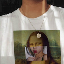 Load image into Gallery viewer, Mona Lisa Cartoon Fun Fashion Print T-Shirt Spoof Personality Fashion Harajuku New Summer Casual  Women'S Clothing