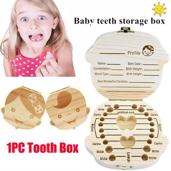 English Russian Baby Wooden Tooth Box Organizer Deciduous teeth Teeth Storage Collect Teeth  Save Gifts Box