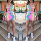 Summer Fashion Women Dye Print Casual Slim Fit Cut Out Bodycon Dress