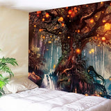 Colorful Tree Tapestry Wall Hanging Psychedelic Forest with Birds Wall Tapestry Bohemian Mandala Hippie Tapestry for Bedroom