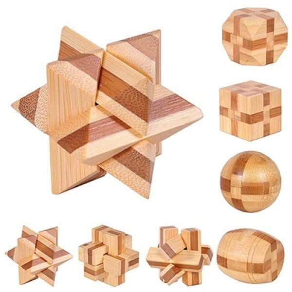 Fancy Wooden Kongming Lock Brain Teaser Puzzle Children Adults Educational Game Toy Gift