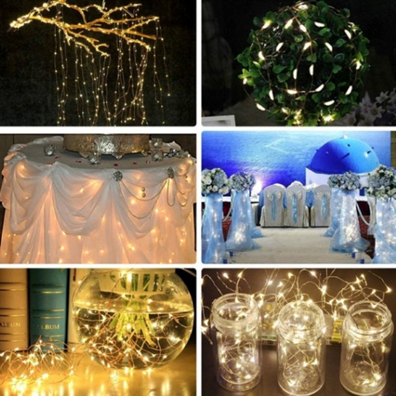 8 MODES Outdoor Solar Powered Copper Wire String Lights, Waterproof Solar Fairy Christmas Decoration Lights for Garden, Home, Patio and Christmas Party