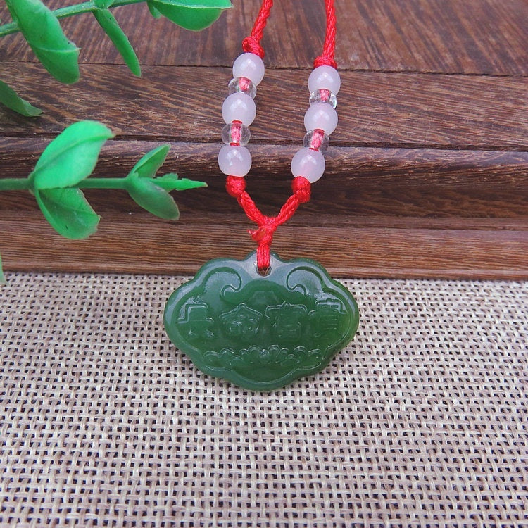 Boutique Fashion Natural Stone Jade Guanyin and Buddha Necklace Pendant Hand Carved Lucky Amulet
