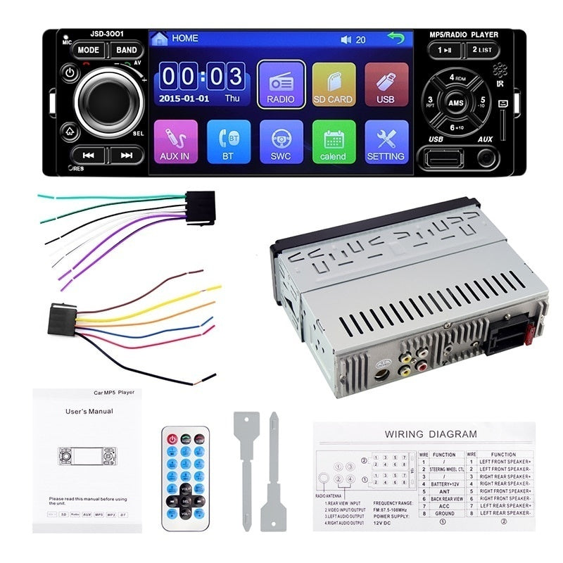 4' Touch Screen Car Radio 1Din 12V Auto Audio Stereo Radio MP5 Player AUX FM Bluetooth Support Rearview Camera Remote Control
