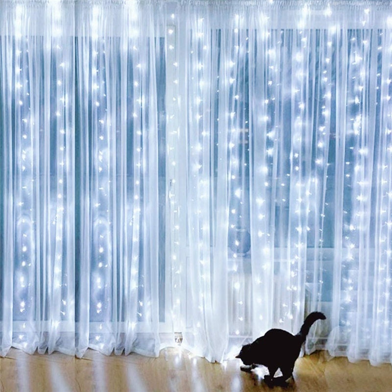 9.8ft x 9.8ft 300 LED Window Curtain String Fairy Lights with Remote for Bedroom Wedding Party Home Christmas Indoor Wall Decoration