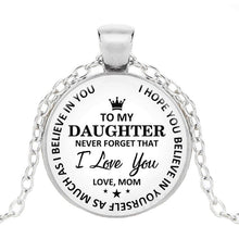 Load image into Gallery viewer, Holiday Gift To My Daughter..Love Mom Time Gemstone Pendant Necklace 925 Silver Princess Crown Necklace