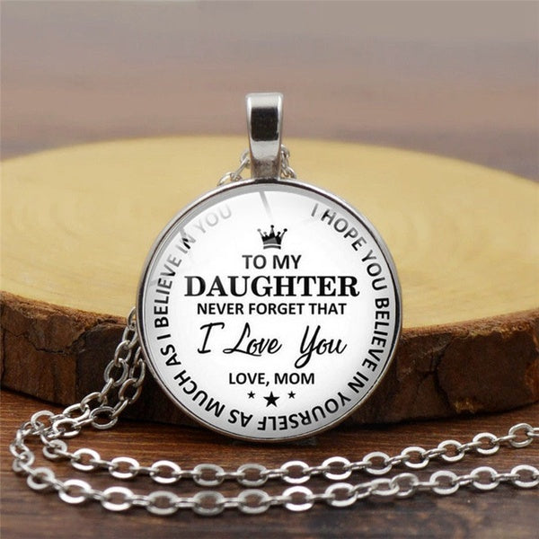 Holiday Gift To My Daughter..Love Mom Time Gemstone Pendant Necklace 925 Silver Princess Crown Necklace
