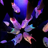 New LED Luminescent Shoes for Kids Women Men with USB Charging White Sneaker Casual Flashing Shoes