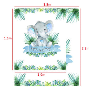 2 Types Cute Elephant Shower Backdrop Birthday Party Baby Photography Background Cloth Studio Props