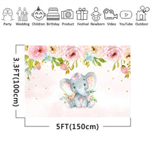 Load image into Gallery viewer, 2 Types Cute Elephant Shower Backdrop Birthday Party Baby Photography Background Cloth Studio Props
