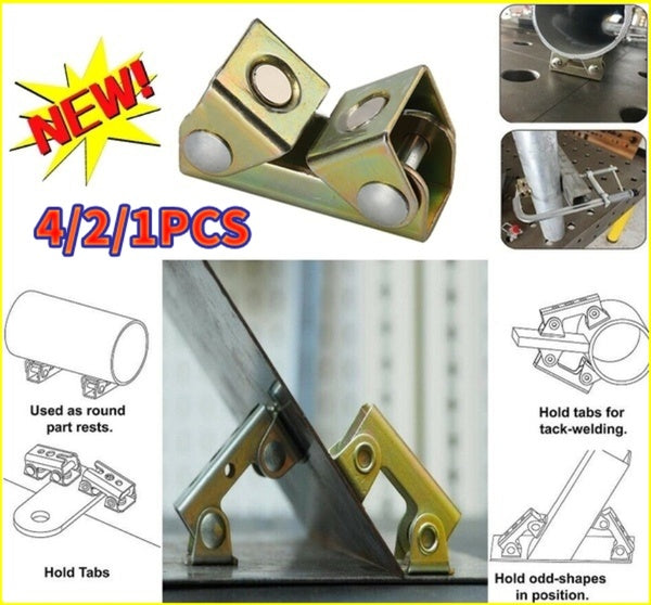 1/2/4 PCS V Type Magnetic Welding Clamps Holder Suspender Fixture Adjustable V Pads Strong