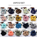 1/5/10/20/30 Pcs/set Fashion Women Girl Floral Hair Scrunchies Bun Ring Elastic Fashion Sports Dance Scrunchies (Random Color)