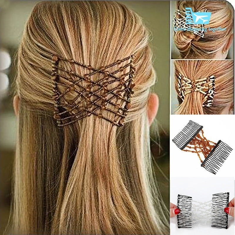 2019 Vintage Pearl Hair Combs Double Magic Slide Metal Comb Clip Hairpins for Women Hair Accessories Hair Jewelry