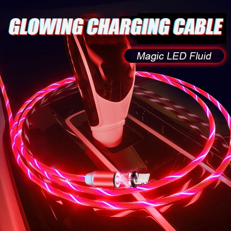 Fluid Led Light Magnetic Charger Cable Flowing 2.4A Fast Charging Magnet Micro USB Type C Lightning Cable For Samsung OPPO VIVO Huawei LED Magnetic Wire Cord