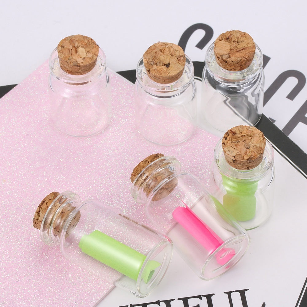 10pcs 5/8/12/15ml Mini Clear Vials Glass Bottle Blank Transparent Message Wishing Bottles With Cork Stopper