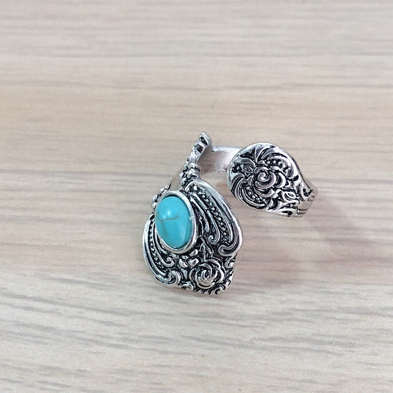 New Fashion Native American Indian Jewelry Vintage Silver Turquoise Open Finger Ring Party Rings Statement Wedding Rings Adjustable Rings Gifts