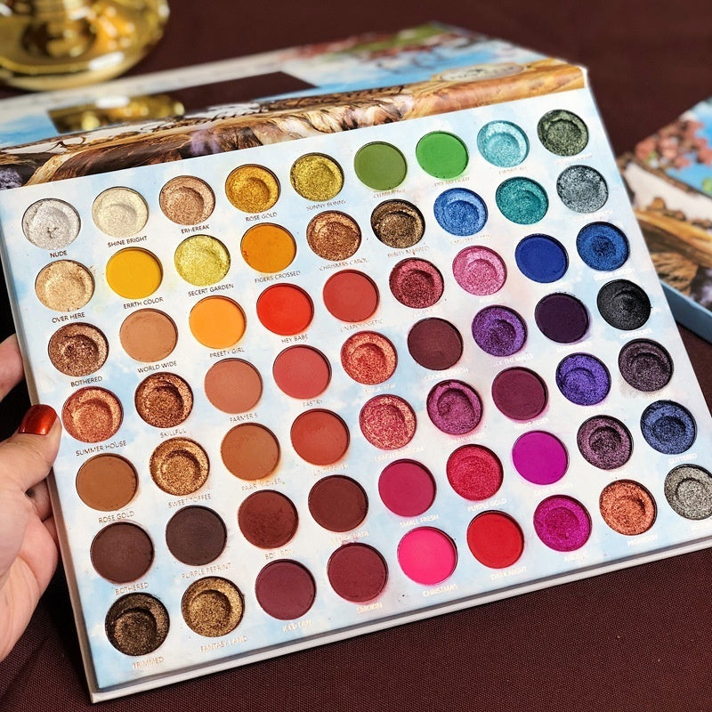 63 Colors Glitter Eyeshadow Palette Matte Waterproof Long lasting Festival Eye Makeup Professional Eyeshadow Make Up Pigment Tools