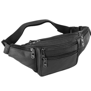 Mens Leather Waist Bag Multi-Pockets Storage Pack Bag